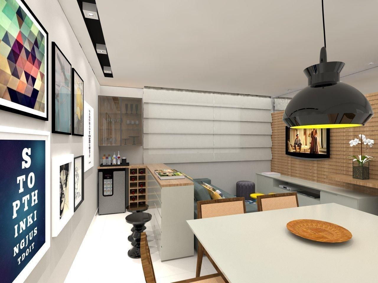 Adega Pequena Integrada Com A Sala De Amis Arquitetura Design  -> Adega Para Sala De Jantar Pequena