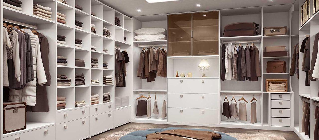Closet Com Prateleiras De Madeira Branca Marel 74056