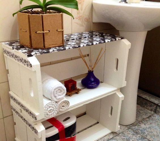como decorar um banheiro - caixote de feira