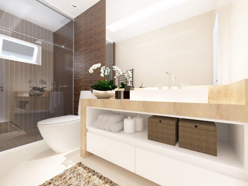 Banheiro com acabamento em Madeira de AUREUM Arquitetura & Interiores  4 -> Banheiros Simples E Chique