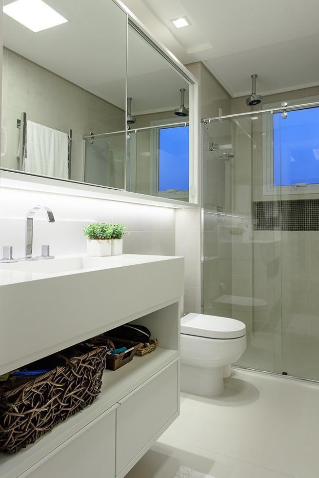 Banheiro com box de Vidro Transparente de Juliana Pippi  70481 no Viva Decora -> Banheiro Simples Box