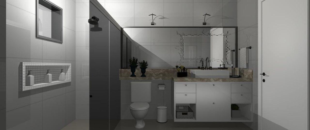 Banheiro com cuba Quadrada de Joana Booz  57162 no Viva Decora -> Banheiro Simples Com Cuba