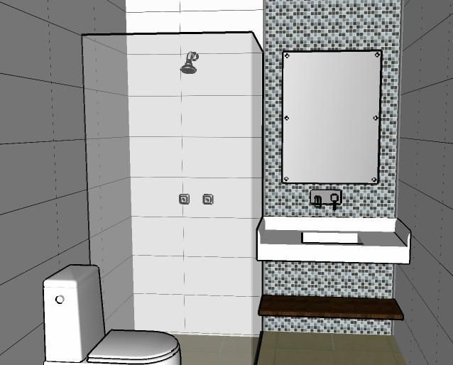 Banheiro com pastilha preto e Branco de Joel Jose  59444 no Viva Decora # Banheiro Simples Pastilha