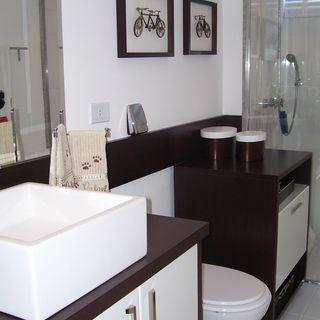 dc1631003 Banheiro Cuba Branca e Armário Preto