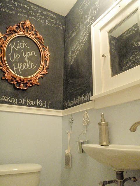 como decorar um banheiro - tinta lousa
