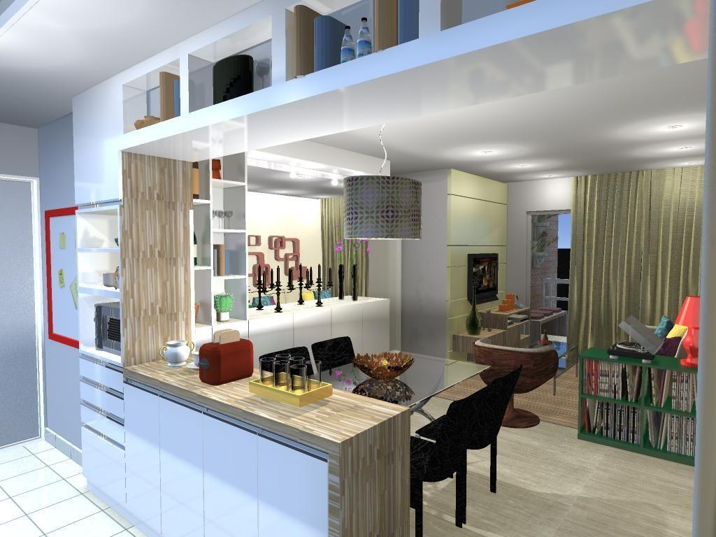 Cozinha Americana Com Bancada De Madeira De Luiza Altman 50680 No