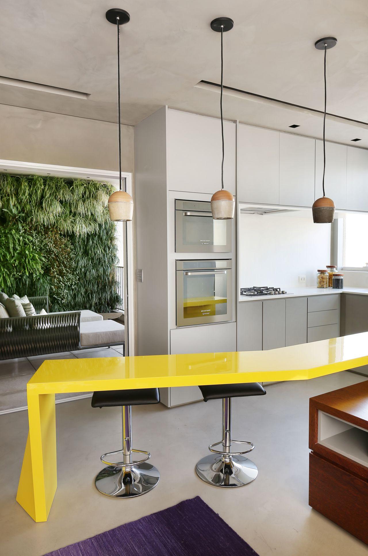 Cozinha Americana Amarela Americana Madeira Quente Cozinha Amarela