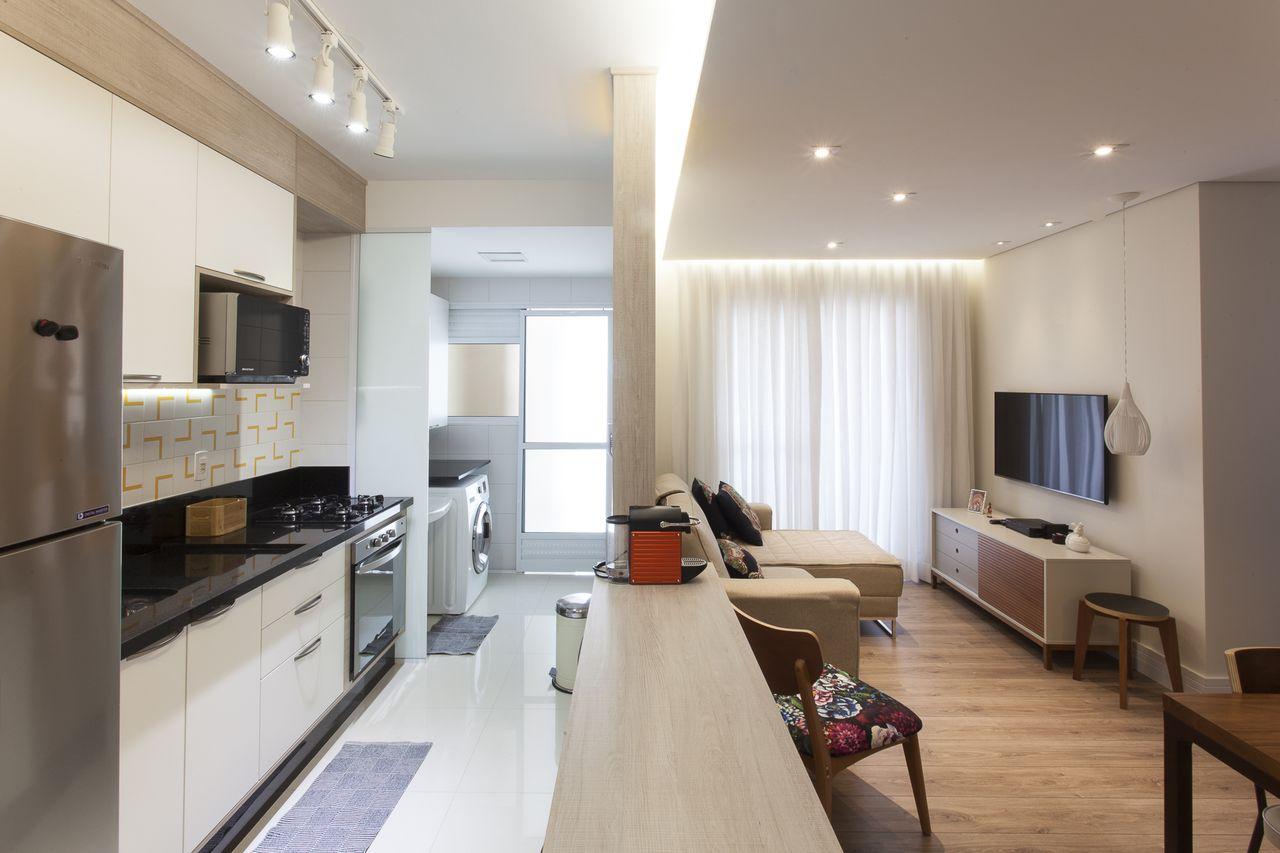 Cozinha Americana Branca Com Balc O De Madeira De Tt Interiores