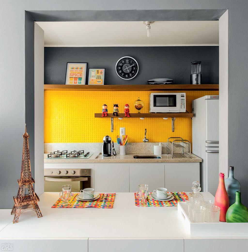 Cozinha Americana Cinza Amarela E Branca De Ambientta Arquitetura
