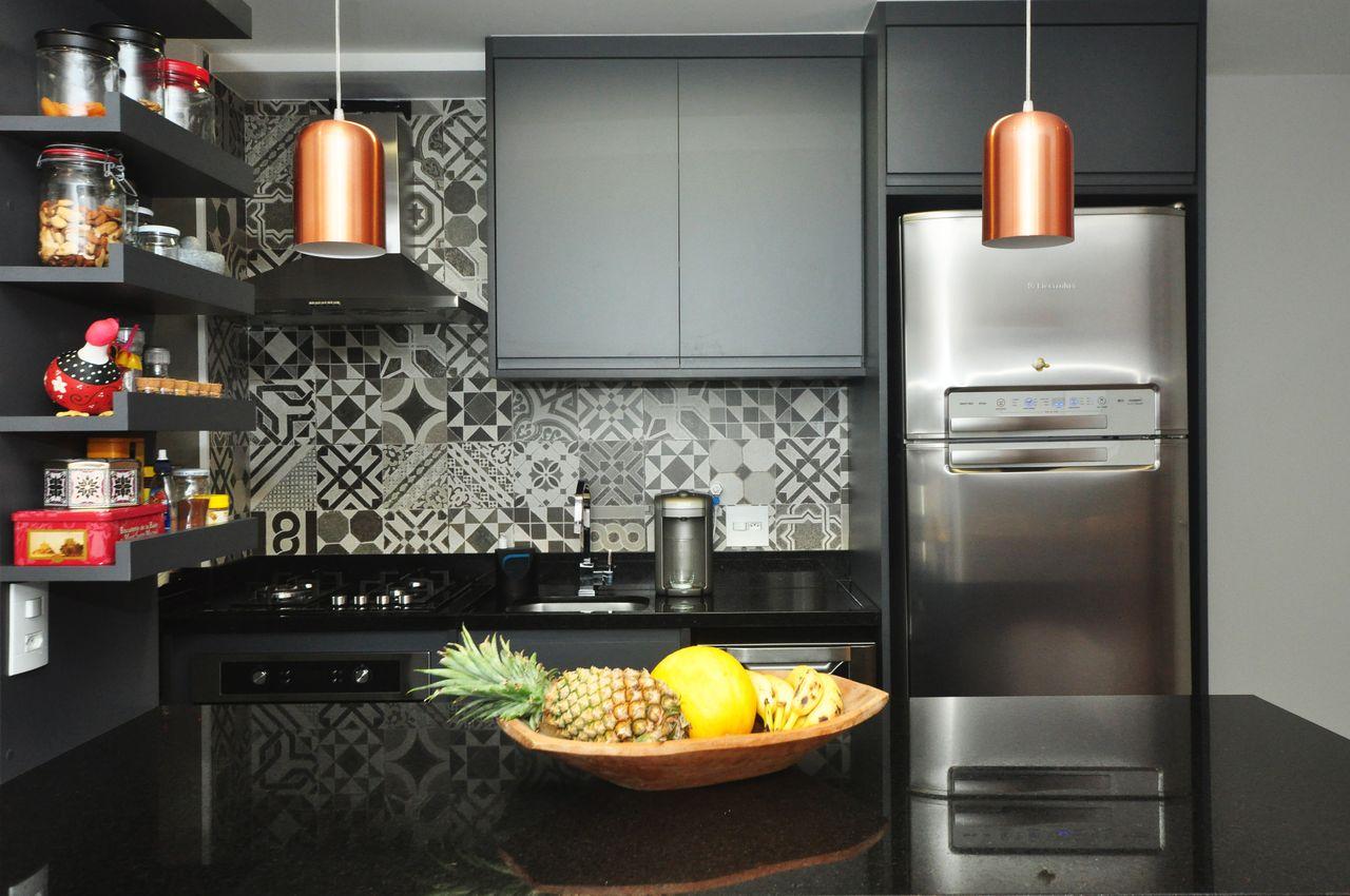 Cozinha Americana Cinza E Preta De Condecorar Arquitetura E