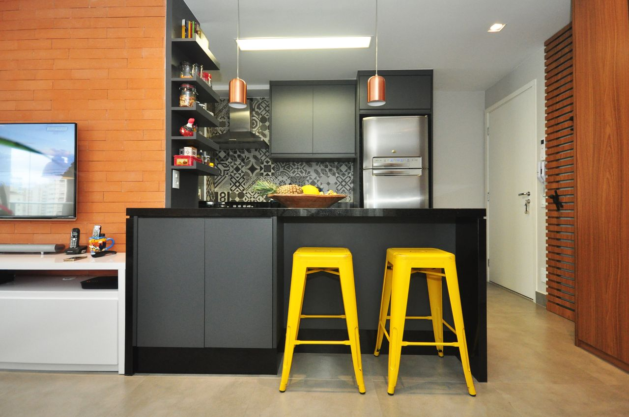Cozinha Americana Cinza Integrada Sala De Estar De Condecorar