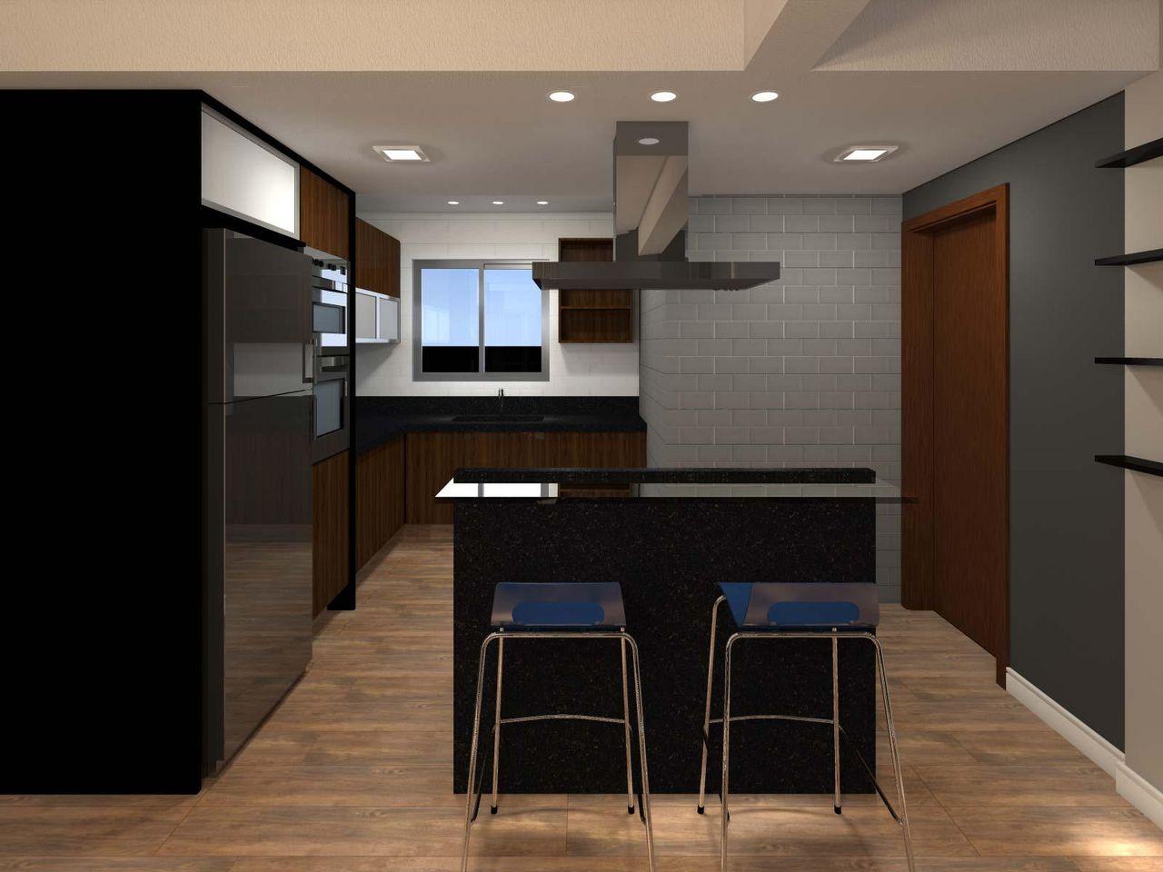 Cozinha Americana Com Bancada De Granito Escuro De Juliana Lahoz