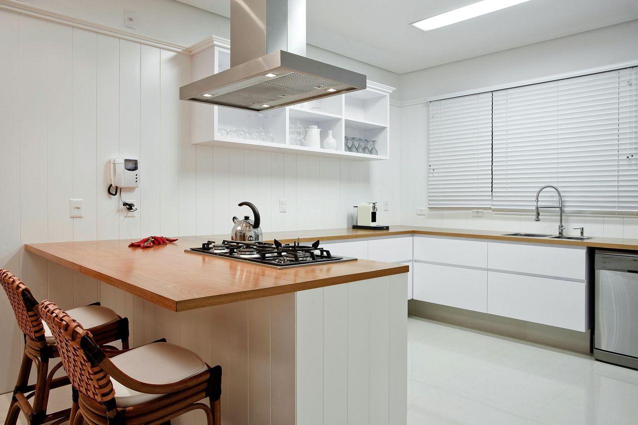 Cozinha Americana Com Bancada De Madeira De Karla Silva 78790 No