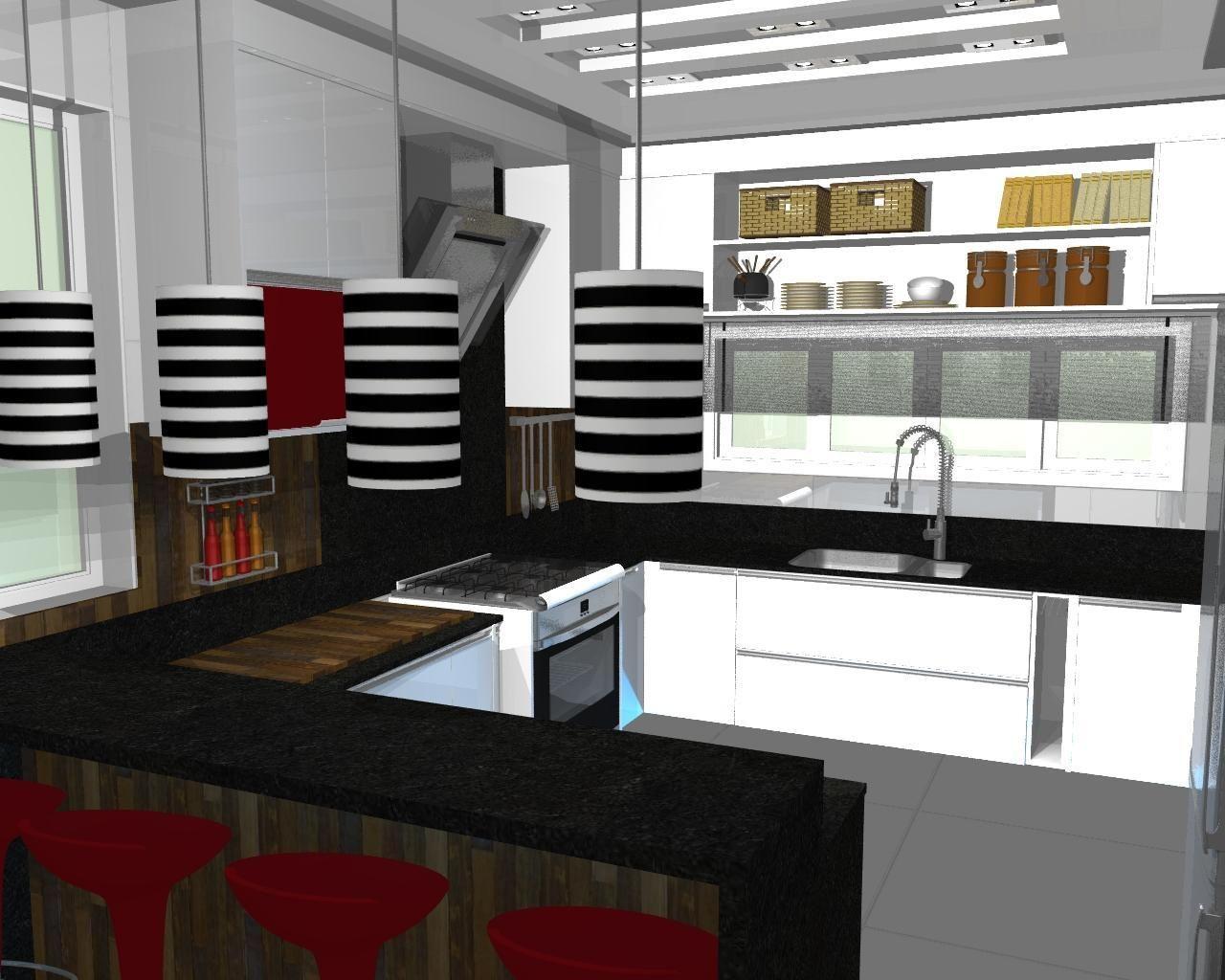 Cozinha Americana Com Bancada Preta De Luiz Otavio 50745 No Viva