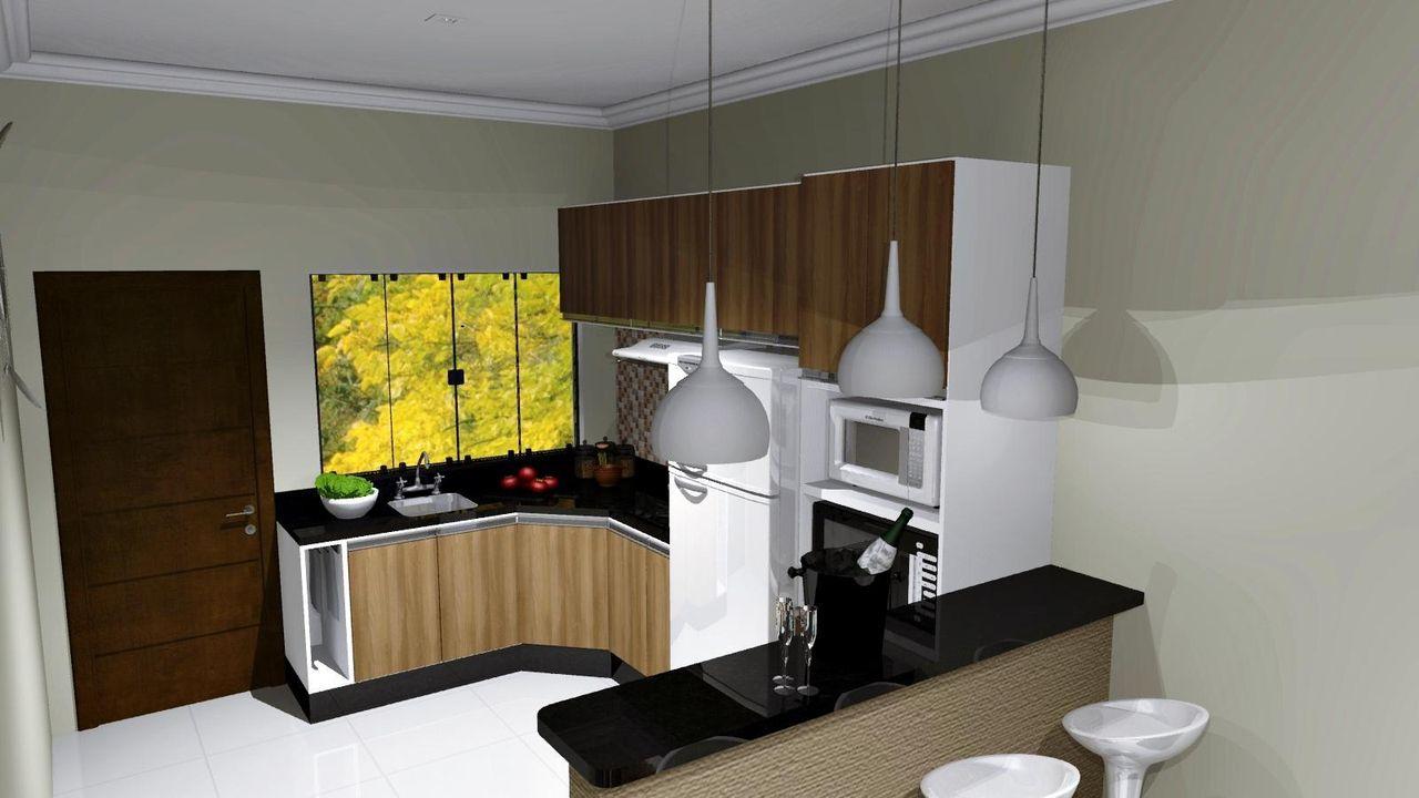 Cozinha Americana Com Bancada Preta De Renata Oliveira 59009 No