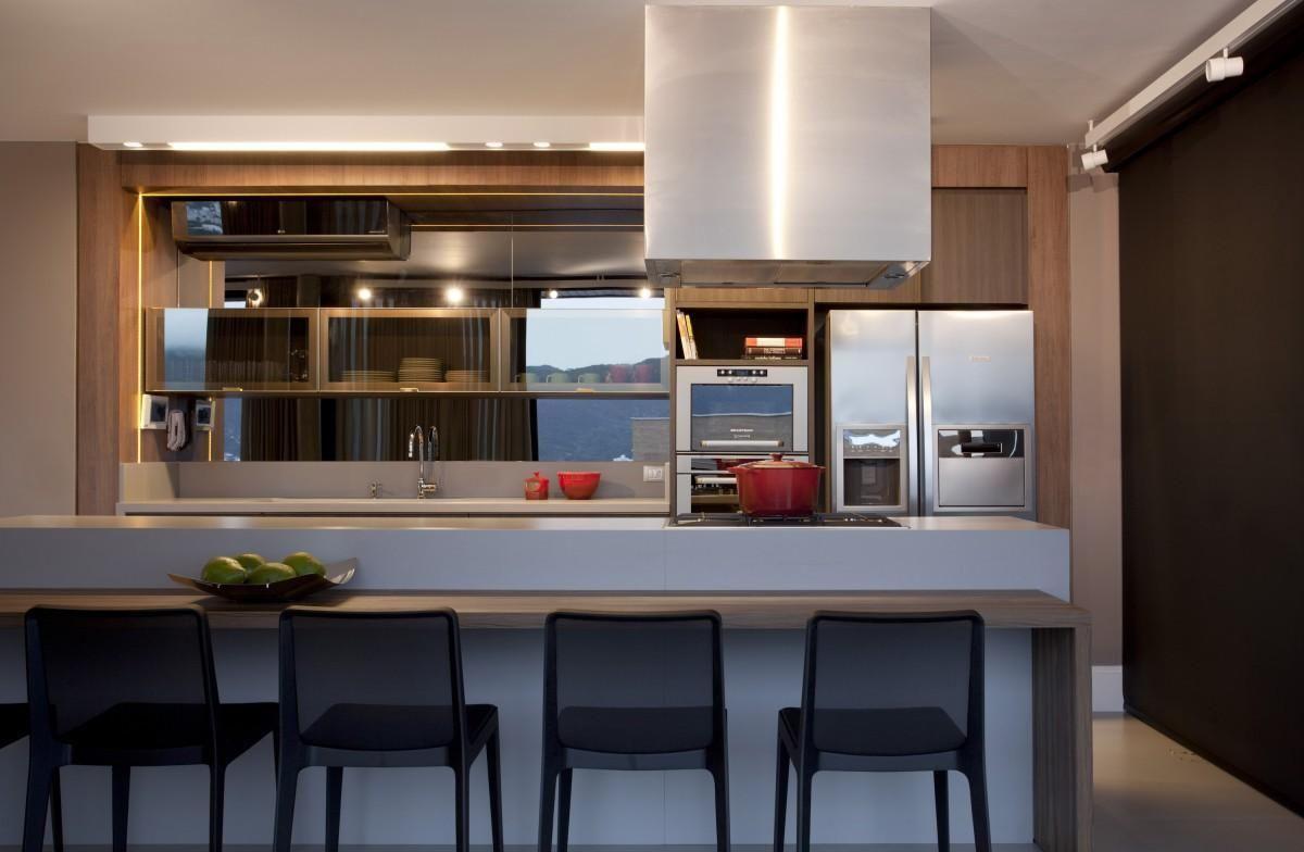 Cozinha Americana Com Banqueta Preta De Juliana Pippi 71187 No