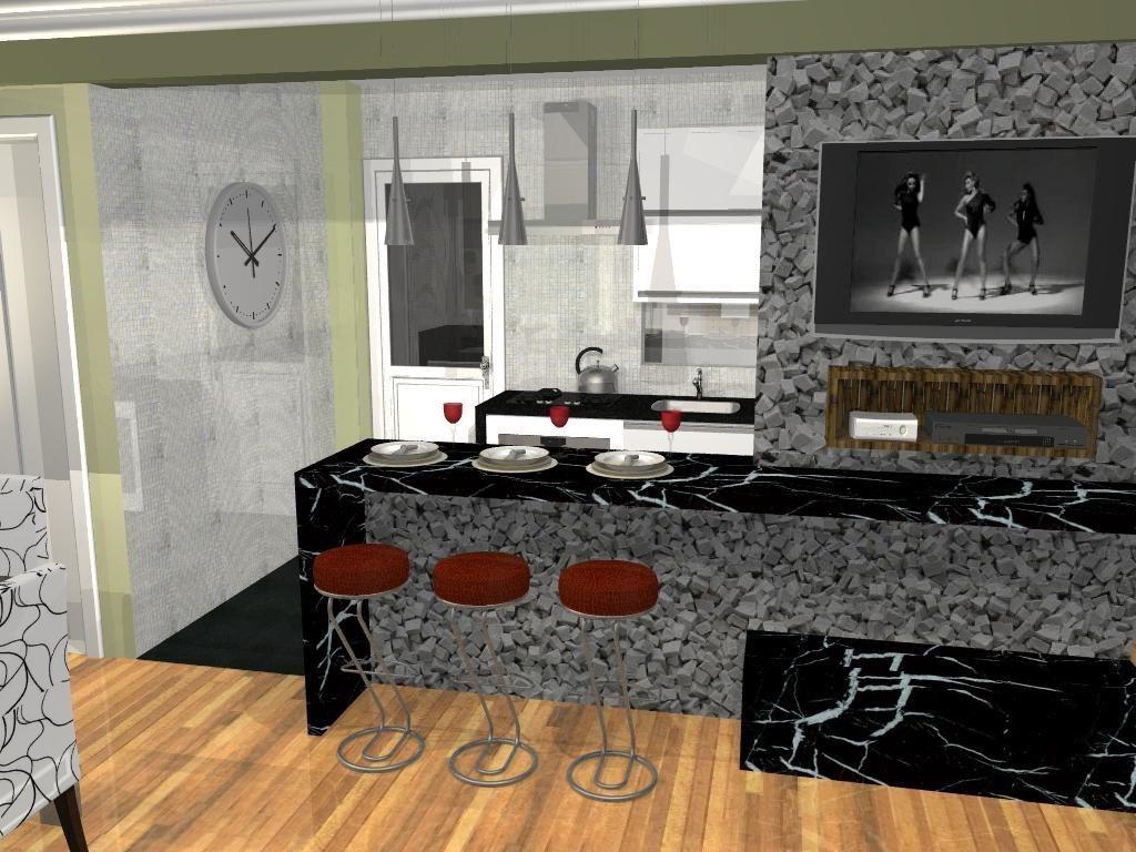 Cozinha Americana Com Banqueta Vermelha De L O Balicas 46376 No