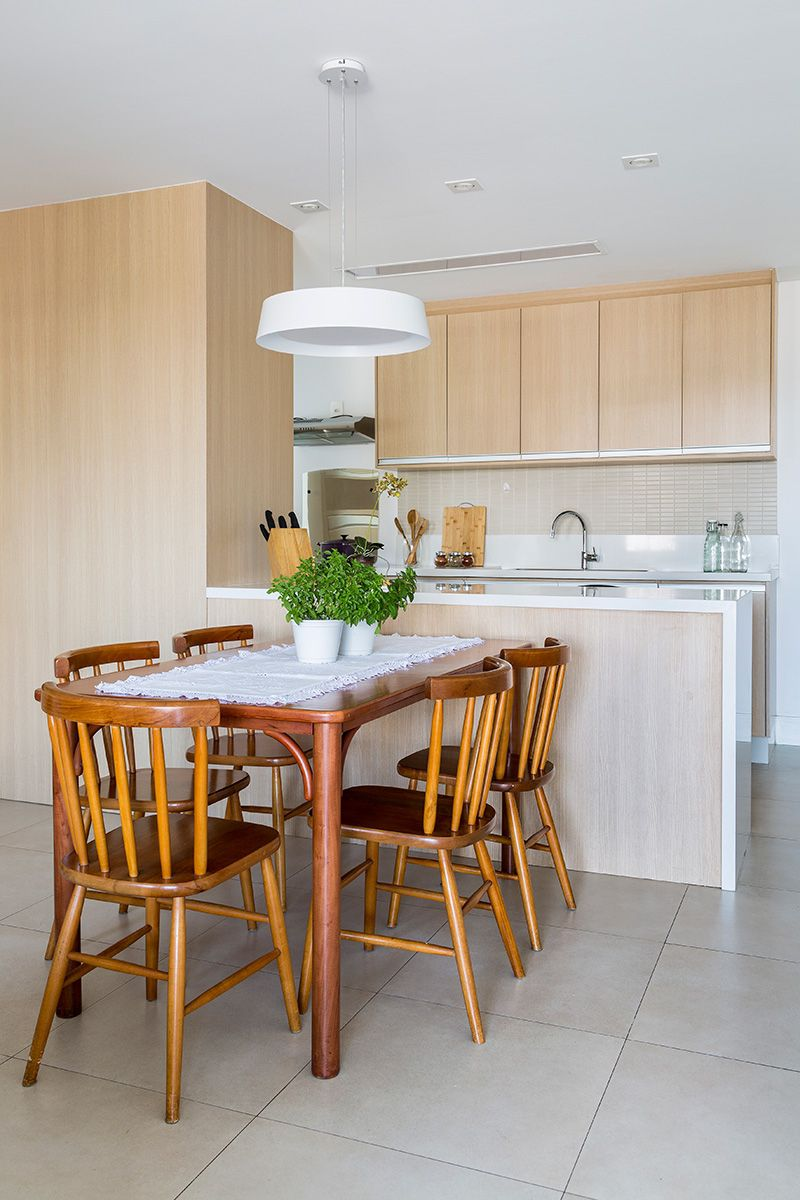 Cozinha Americana Com Mesa De Madeira De Juliana Conforto 133965