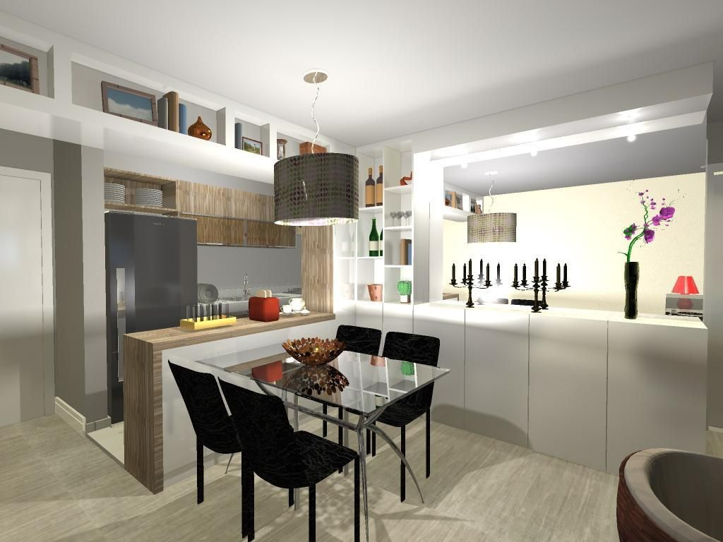 Cozinha Americana Com Mesa Quadrada E Cadeiras Pre De Luiza Altman