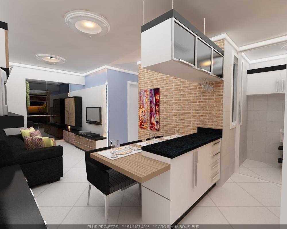 Cozinha Americana Com Parede Em Tijolo De Online Projetos 78752 No