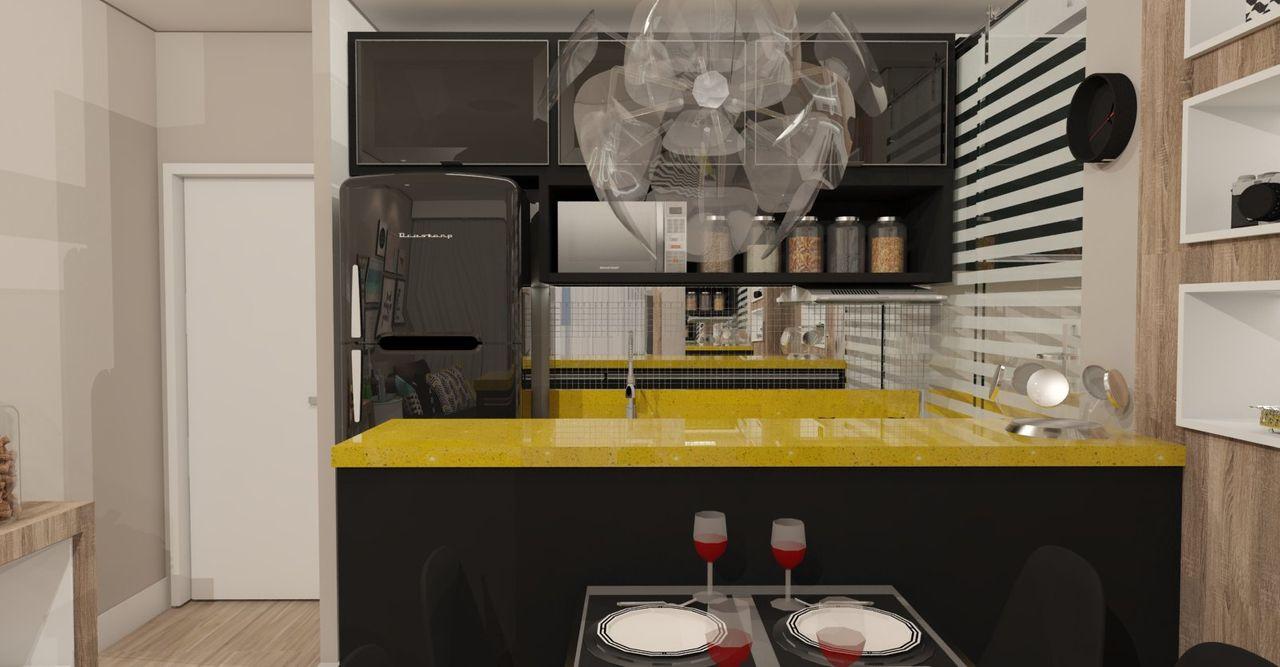 Cozinha Americana Moderna Preta E Amarela De Ana Paula Carvalho