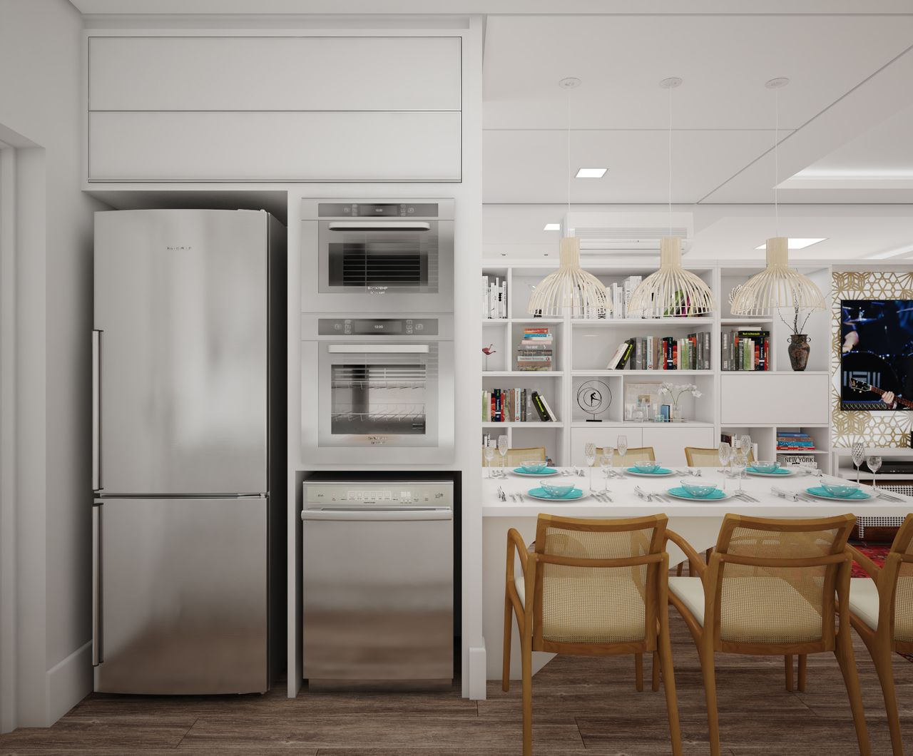 Cozinha Americana Integrada Com Sala De Jantar E Estar Great