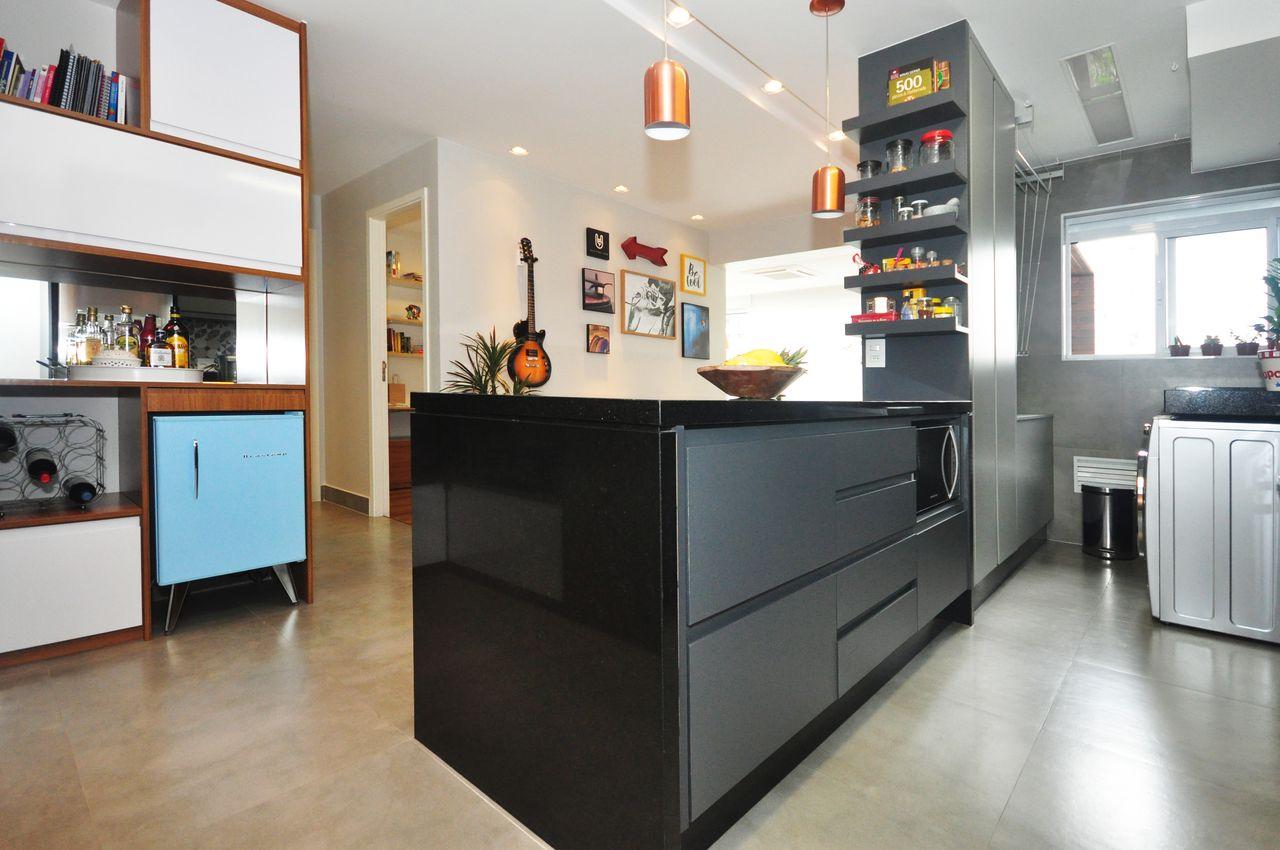 Cozinha Cinza E Preta Integrada Sala De Condecorar Arquitetura E  -> Sala E Cozinha Integrada Como Decorar