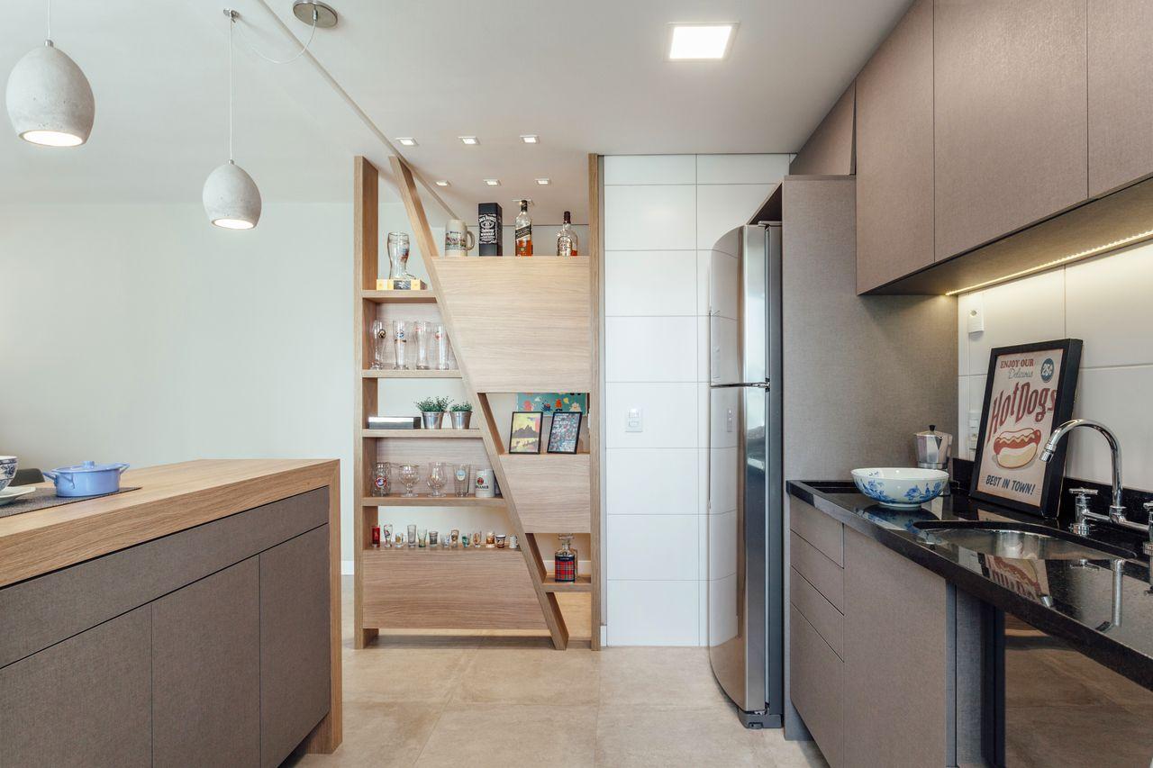 Cozinha Clean Com Estante Assim Trica De Madeira De Ambientta