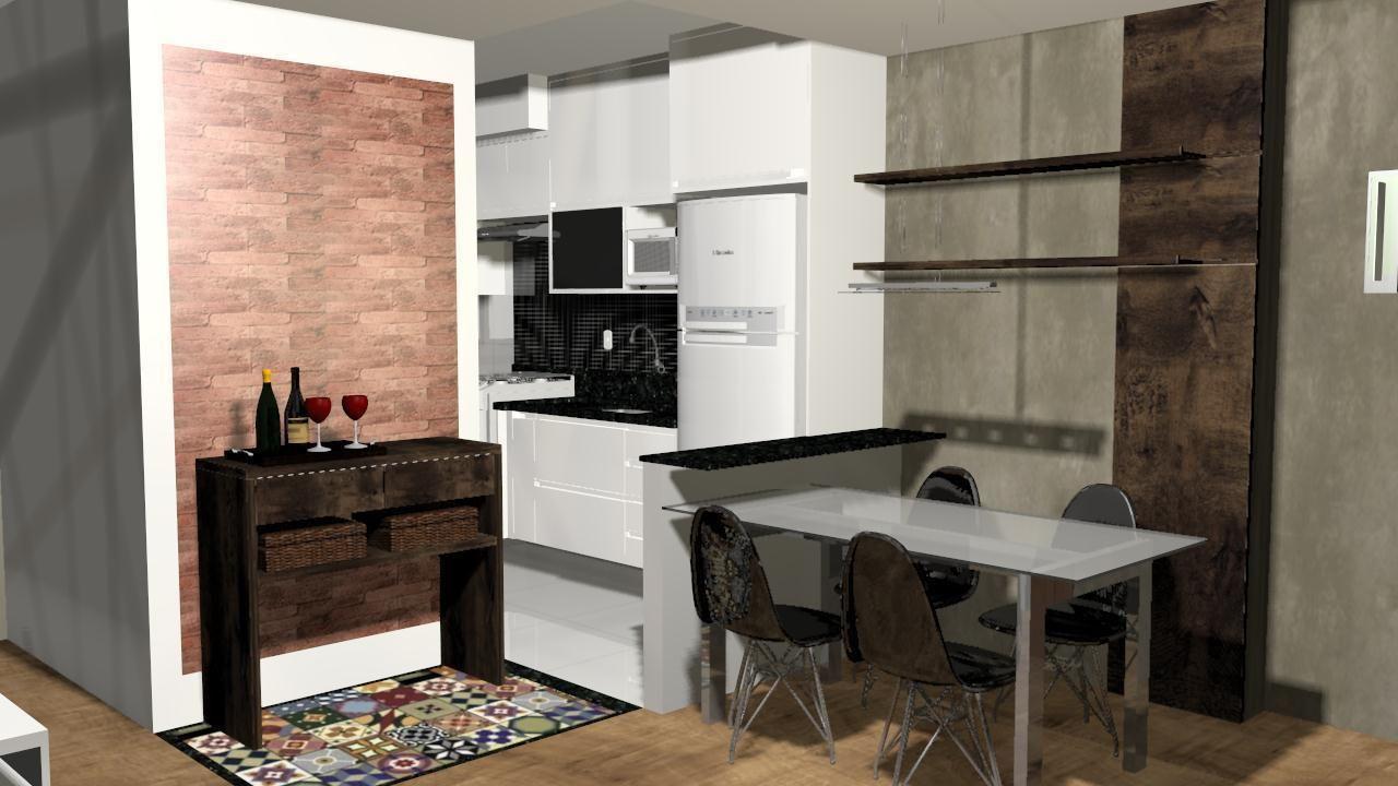 Cozinha Com Mesa Quadrada E Cadeira Preta De Juliana Gomes 61074