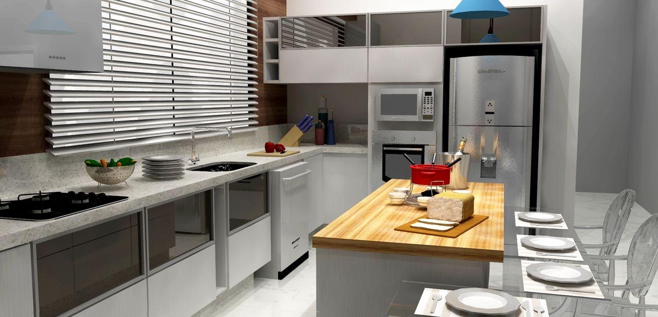 Cozinha Com Mesa De Tampo Em Madeira De Willian Matias 140313 No