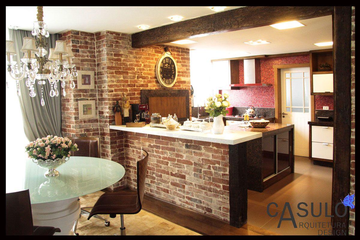 Cozinha Americana Com Tijolo De Demoli O De Daiana Arnold  ~ Lustre Para Cozinha Americana