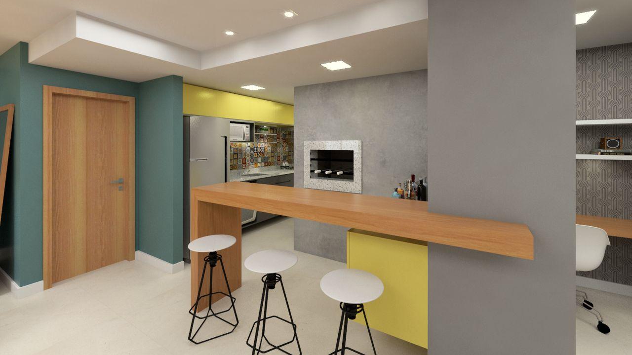 Cozinha Americana Moderna Com Toques De Cor De Dh Arquitetura