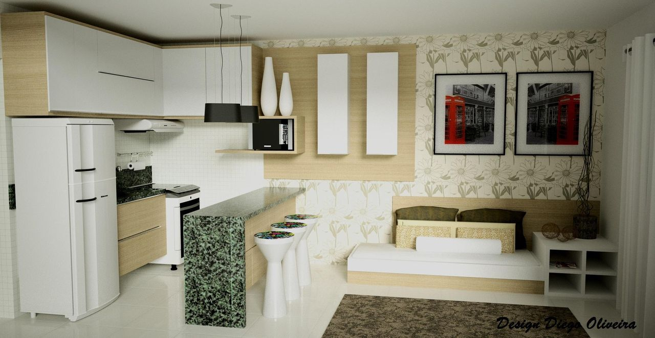 Mesa Embutida Na Parede Com Pedra Em Granito De Diego Oliveira  -> Sala De Jantar Pequena Com Mesa De Marmore