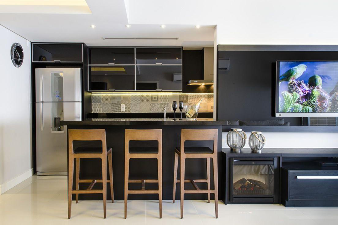 Cozinha Americana Com Bancadas Alta De Madeira De Favorita Movdecor