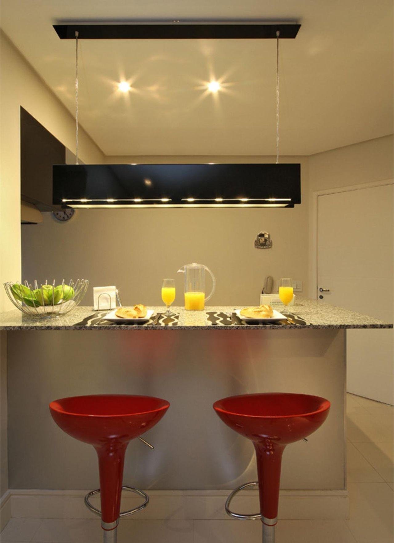 Cozinha Americana Pequena Com Bancos Vermelhos De 3k Arquitetura E