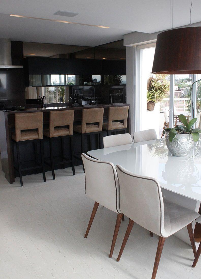 Cozinha Americana Preta E Sala De Jantar Branca De Leonardo Muller