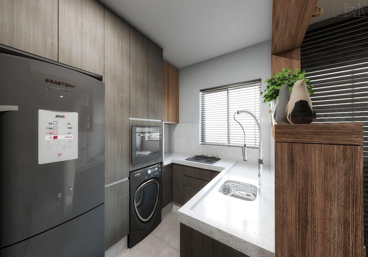 Cozinha Pequena Em Tons Neutros E Madeirados De Ub Arquitetura