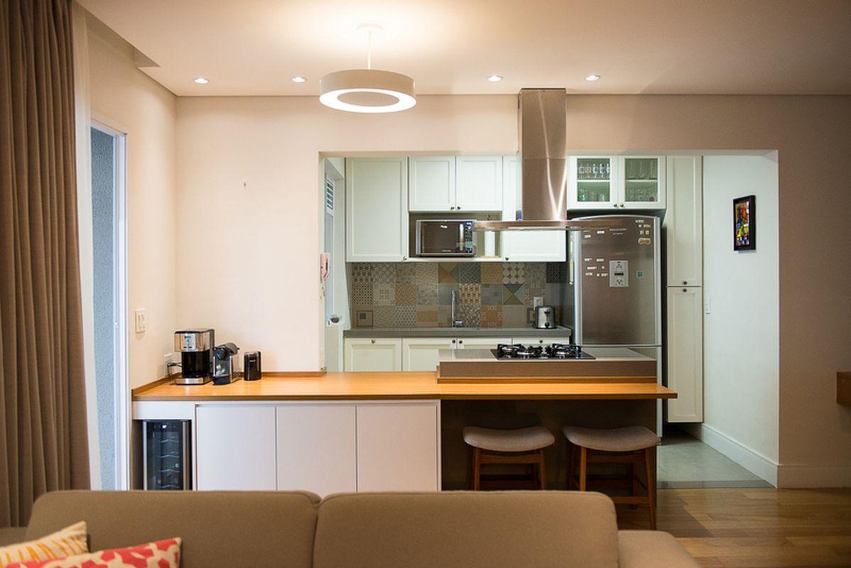 Cozinha Gourmet Vista Da Sala De Estar De Moussi Arquitetura