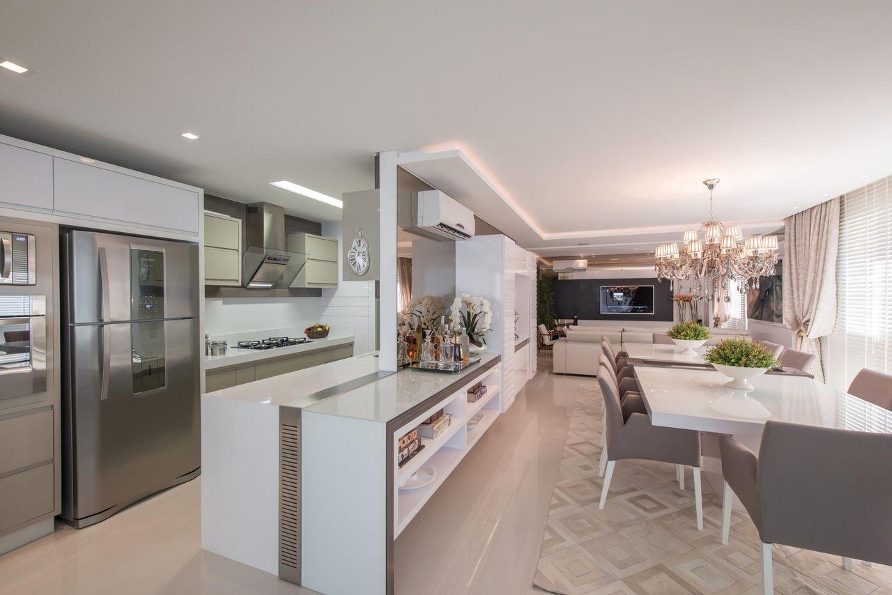 Cozinha Gourmet Branca E Cinza De Actual Design 103946 No Viva Decora