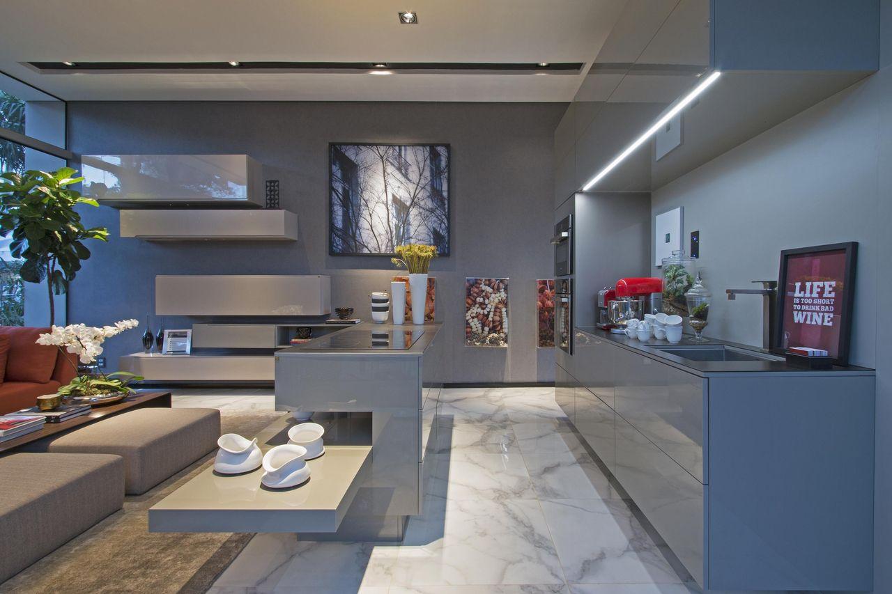 Cozinha Gourmet Com Bancada Cinza De J Ia Bergamo 97467 No Viva Decora
