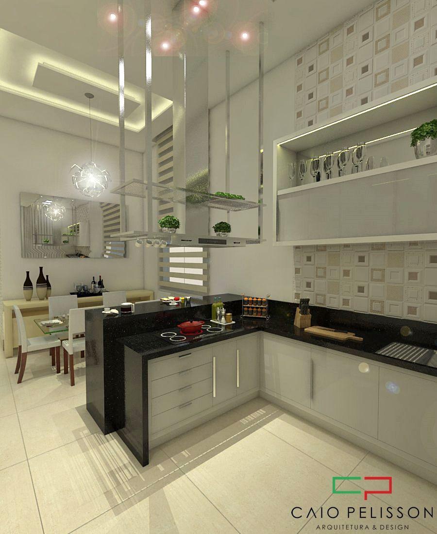 Cozinha Gourmet Com Bancada Preta E Cooktop De Arquiteto Caio