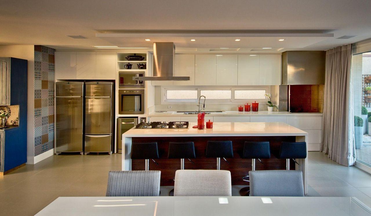 Cozinha Gourmet Com Banqueta Preta De Espa O Do Tra O Arquitetura