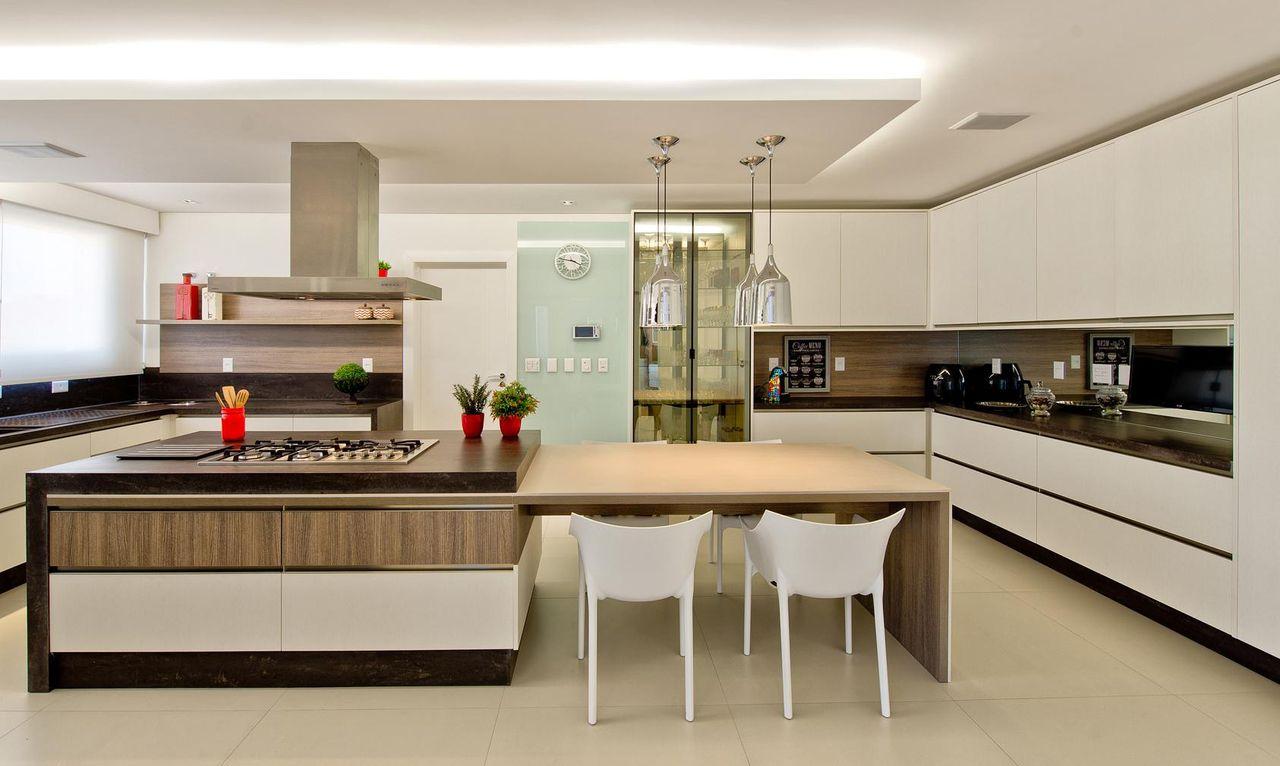 Cozinha Gourmet Com Cadeira Branca De Espa O Do Tra O Arquitetura