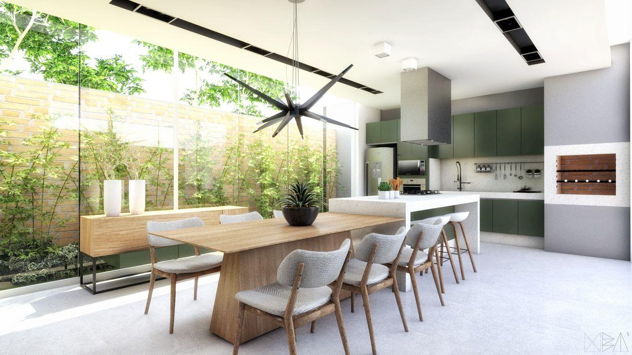 Cozinha Gourmet Com Churrasqueira E Arm Rio Verde De Ub Arquitetura
