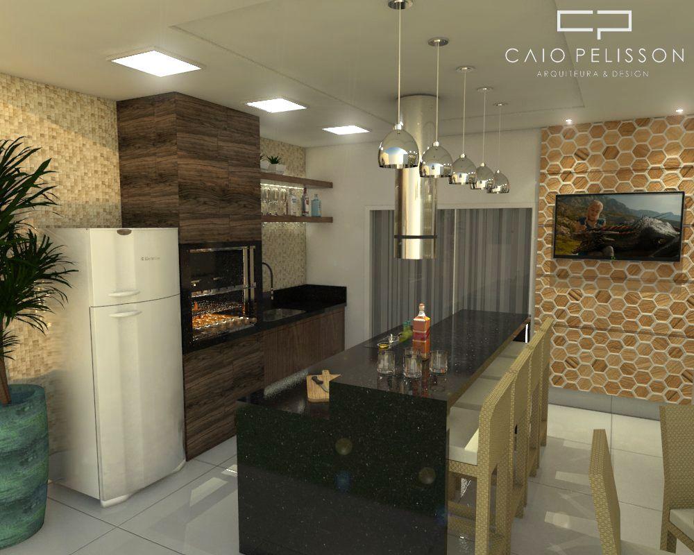 Cozinha Gourmet Com Churrasqueira E Tv De Arquiteto Caio Pelisson