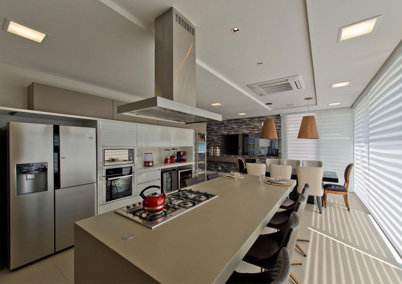 Cozinha Gourmet Com Ilha De Espa O Do Tra O Arquitetura 105573 No
