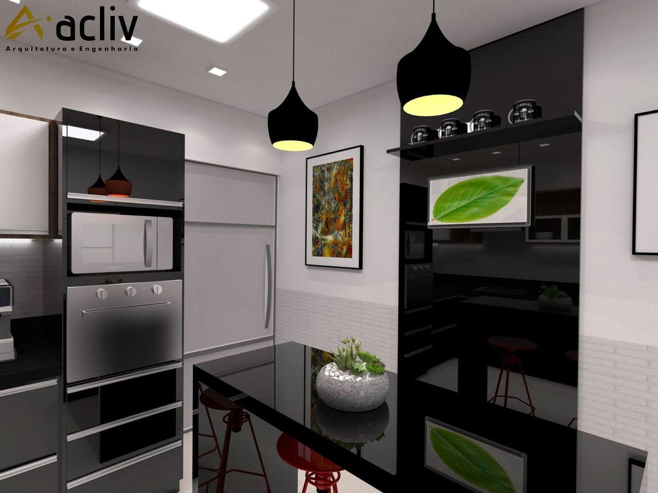 Cozinha Preta E Branca E Quadro Decorativo De Acliv Arquitetura E