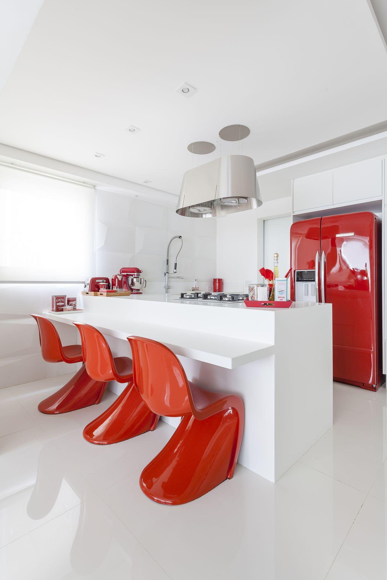 Cozinha Branca Clean Com Acess Rios Vermelhos De Mariana Luccisano
