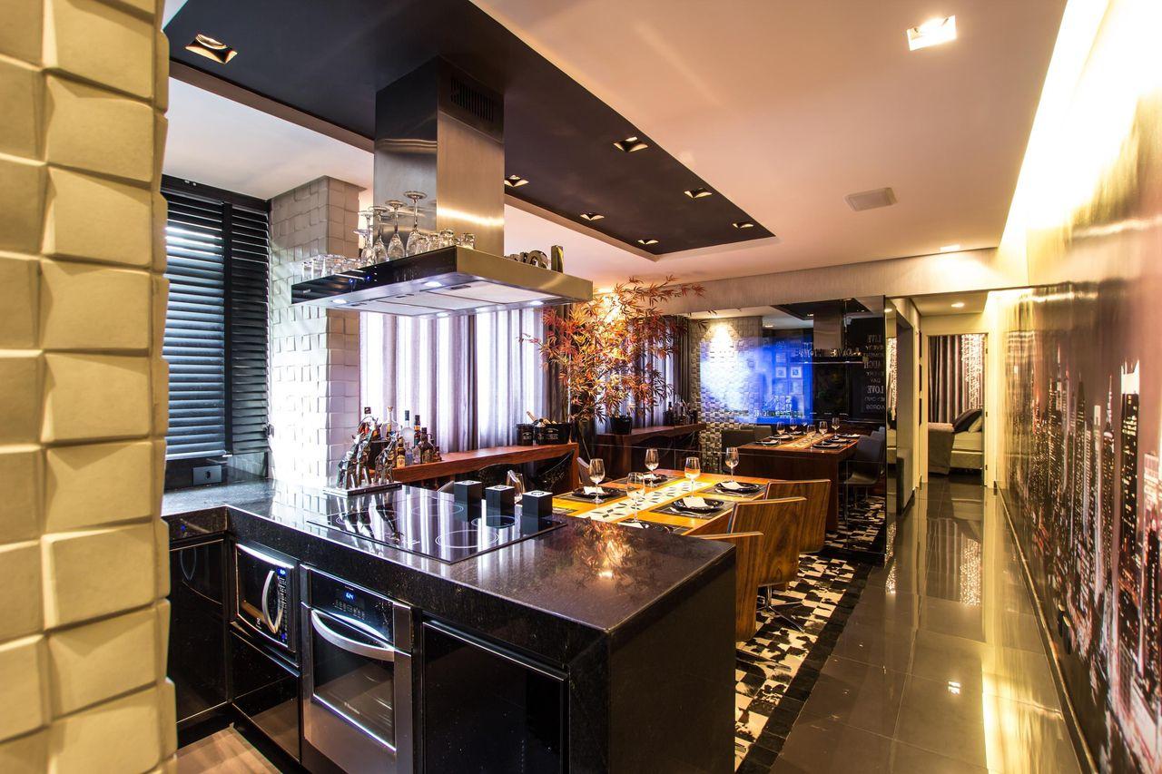 Cozinha Com Bancada Gourmet Integrada Sala De Ja De Dejota Miranda