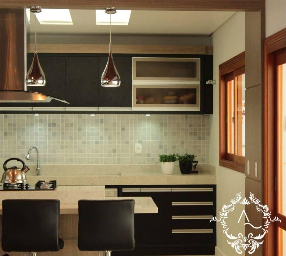 Cozinha Com Banqueta Preta De Graziela Von Muhlen 95974 No Viva Decora
